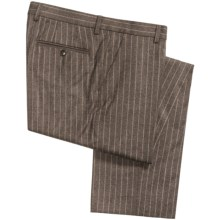 Berle Chalk Stripe Pants - Italian Wool Flannel (For Men) in Brown - Closeouts