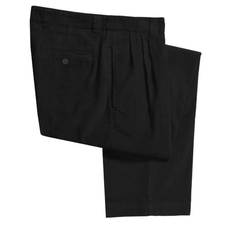 Berle Corduroy Pants - Double Reverse Pleats (For Men) in Black