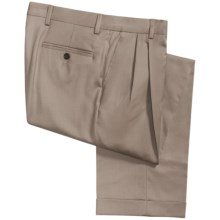 Berle Cuffed Fine Line Pants - Wool Gabardine, Pleats (For Men) in Tan - Closeouts