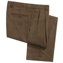 Berle Herringbone Pants - Italian Wool, Double Reverse Pleats (For Men) in Brown/Rust - Closeouts
