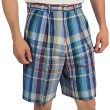 Berle Madras Plaid Shorts - Double-Reverse Pleats (For Men) in Navy Plaid - Closeouts