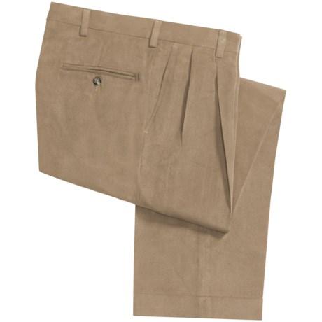 Berle Microfiber Twill Pants - Double-Reverse Pleats, Cuffed (For Men) in Khaki