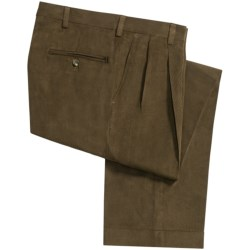 Berle Microfiber Twill Pants - Double-Reverse Pleats, Cuffed (For Men) in Tobacco