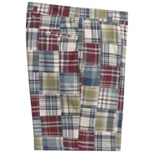 Berle Patch Madras Shorts - Cotton (For Men) in Light Green/Tan - Closeouts