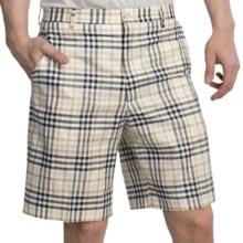 Berle Plaid Shorts - Cotton-Linen (For Men) in Cream/Navy Plaid - Closeouts