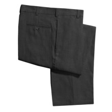 Berle Solid Linen Pants - Flat Front (For Men) in Black - Closeouts