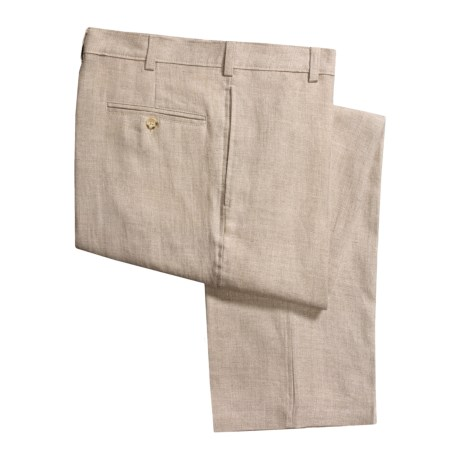 Berle Solid Linen Pants - Flat Front (For Men) in Natural