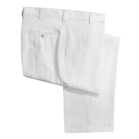 Berle Solid Linen Pants - Flat Front (For Men) in Cream