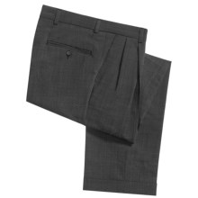 Berle Tic Weave Cuffed Dress Pants - Stretch Wool, Double-Reverse Pleats (For Men) in Black/White - Closeouts
