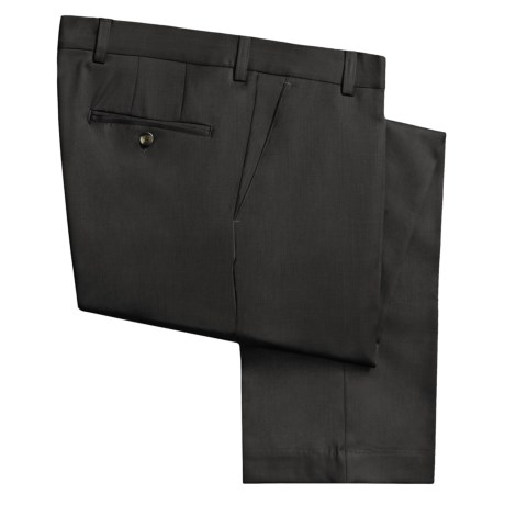 Berle Wool Gabardine Pants - Flat Front (For Men) in Black