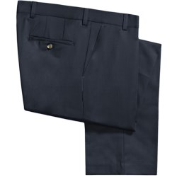 Berle Wool Gabardine Pants - Flat Front (For Men) in Navy