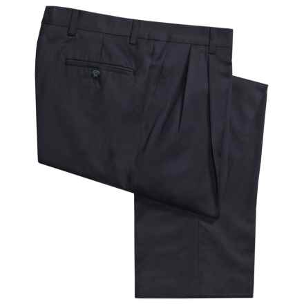 Berle Wool Gabardine Pants - Pleats    (For Men) in Navy - Closeouts