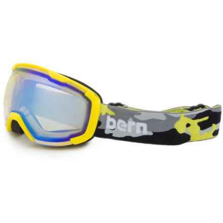 Bern Sawyer Ski Goggles (For Little and Big Kids) in Neon Yellow Camo/Yellow Blue Light Mirror - Closeouts