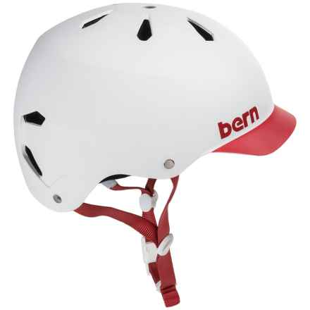 Bern Watts Thin Shell Summer EPS Bicycle Helmet (For Men) in Matte White/Red Brim - Closeouts