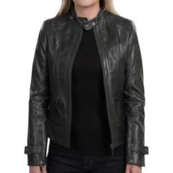 Bernardo Leather Jacket (For Women) in Black