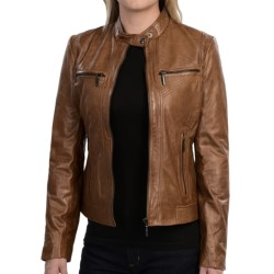 Bernardo Tab Collar Leather Jacket (For Women) in Black