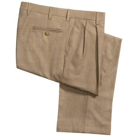 Berry Bricken Silk-Wool-Linen Plaid Pants - Pleats, Cuffs (For Men) in Tan