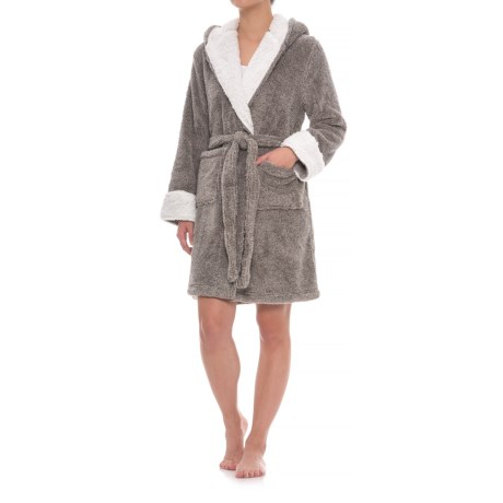 Berskhire Blanket Daydream Hooded Shearling Robe - Long Sleeve (For Women) in Reindeer/Heather Platinum