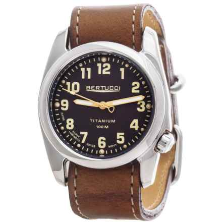 Bertucci A-2T High-Polish Titanium Field Watch - Horween® Leather Band (For Men) in Burlap/Horween Nut Brown - Closeouts