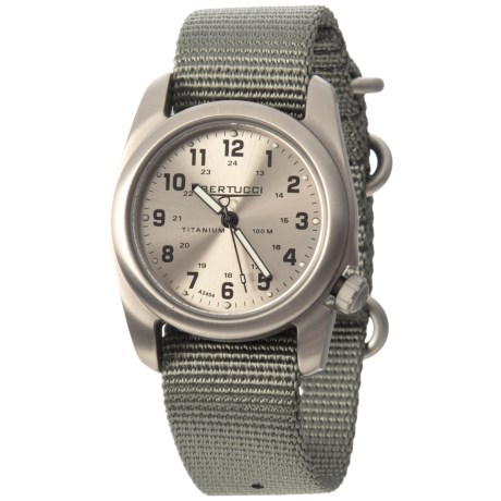 Bertucci A-2T Original Brushed Metal Watch - Woven Nylon Strap in Grey/Silver