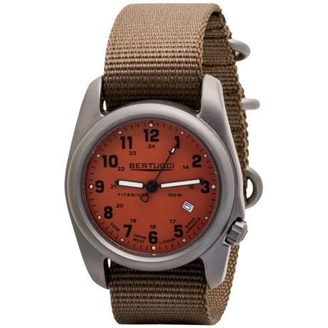 Bertucci A-2T Original Classic Matte Titanium Watch - Nylon Band (For Men) in Orange/Khaki