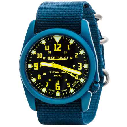 Bertucci A-4T Nautical Titanium Watch (For Men and Women) in Black/Blue - Closeouts