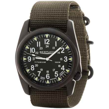 Bertucci A-4T Vintage Black ION Watch - Titanium  (For Men and Women) in Olive/Black/Olive - Closeouts