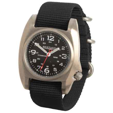 Bertucci B1-T Titanium Analog Field Watch - 41mm, Nylon Strap in Brushed Titanium/Black/Black - Overstock