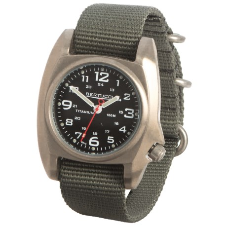 Bertucci B1-T Titanium Analog Field Watch - 41mm, Nylon Strap in Brushed Titanium/Black/Olive Drab