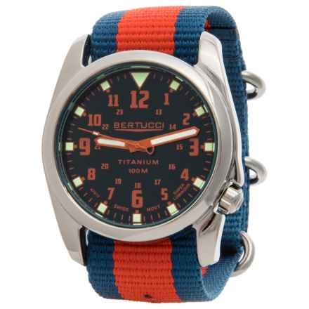 Bertucci Nautical HighPolish Titanium Analog Watch - 44mm, Nylon Strap in Deep Sea Blue/International Orange/Imariner Blue/I - Closeouts