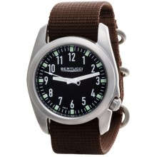 Bertucci Ventara Field Watch - Matte Stainless Steel (For Men) in Black/Brown - Closeouts