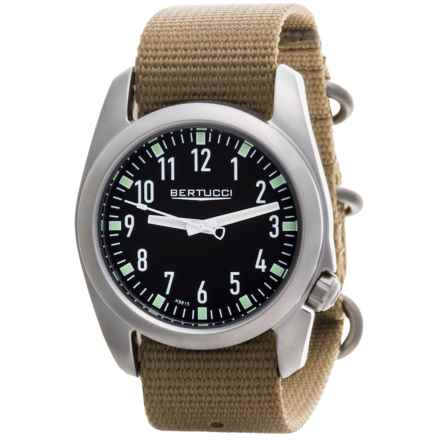 Bertucci Ventara Field Watch - Matte Stainless Steel (For Men) in Black/Tan - Closeouts