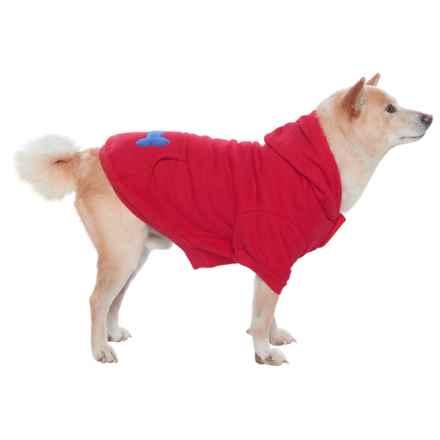 Best Pet Bone Print Pet Hoodie in Red - Closeouts