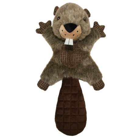 Best Pet Woodland Critters Beaver Mat Dog Toy - Squeaker in Brown