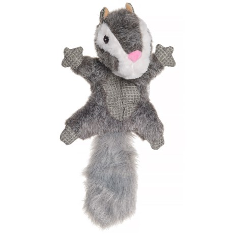Best Pet Woodland Critters Squeaker Mat Squirrel Dog Toy in Grey/White