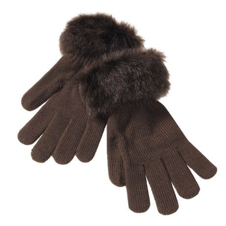 Betmar Knit Gloves with Faux Fur Cuffs (For Women)  in Chocolate