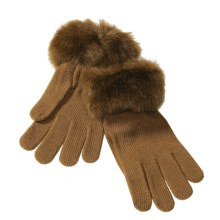 Betmar Knit Gloves with Faux Fur Cuffs (For Women) in Pecan - Closeouts