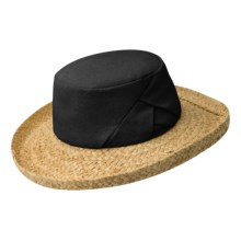Betmar Linen-Raffia Beach Hat (For Women) in Black - Closeouts