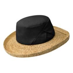 Betmar Linen-Raffia Beach Hat (For Women) in Black