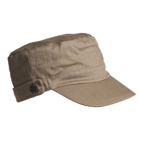 Betmar Military Brass Button Accent Cap (For Women) in Sand