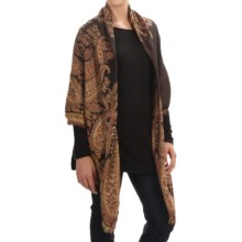 Betmar Pattern Jacquard Shawl (For Women) in Bordeaux Multi - Overstock