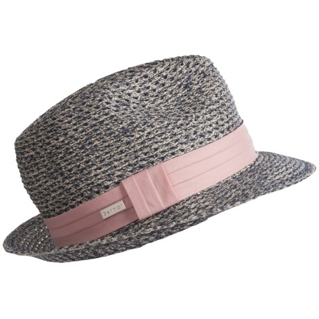 Betmar Peony Braided Fedora Hat (For Women) in Black