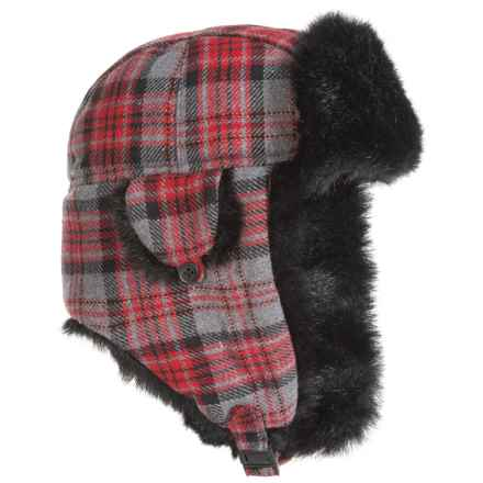 Betmar Plaid Faux-Fur Trapper Hat (For Women) in Red/Grey - Overstock