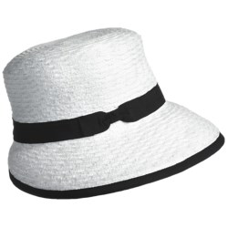 Betmar Scallop Braid Visor Cap (For Women) in White/Black