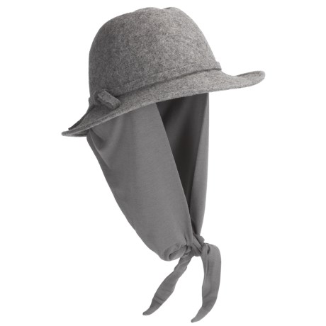 Betmar Wrap Hat - Boiled Wool, Attached Scarf (For Women) in Charcoal