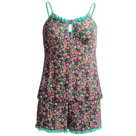 Betsey Johnson Camisole and Shorts Pajamas - Spaghetti Straps (For Women) in Ditbf Pink Ditsy Blue Funk