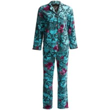Betsey Johnson Printed Flannel Pajamas - Long Sleeve (For Women) in Turquoise Print - Closeouts