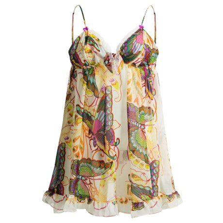Betsey Johnston Chiffon Babydoll Nightgown - Spaghetti Strap (For Women) in Up In The Air