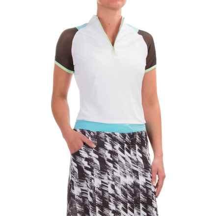 Bette & Court Aero Shirt - UPF 50, Zip Neck, Short Sleeve (For Women) in White - Closeouts