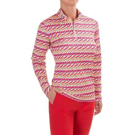 Bette & Court Block Mock Shirt - UPF 50, Zip Neck, Long Sleeve (For Women) in Multi - Closeouts